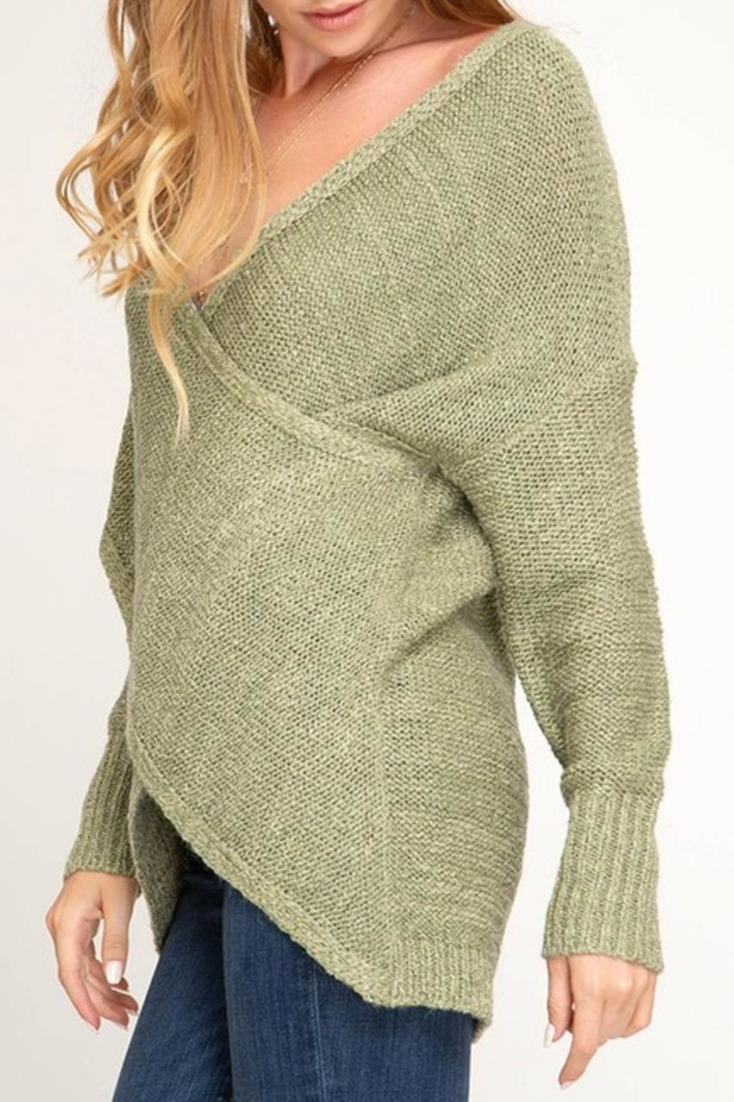 She + Sky Surplice Sweater - Front Full Image