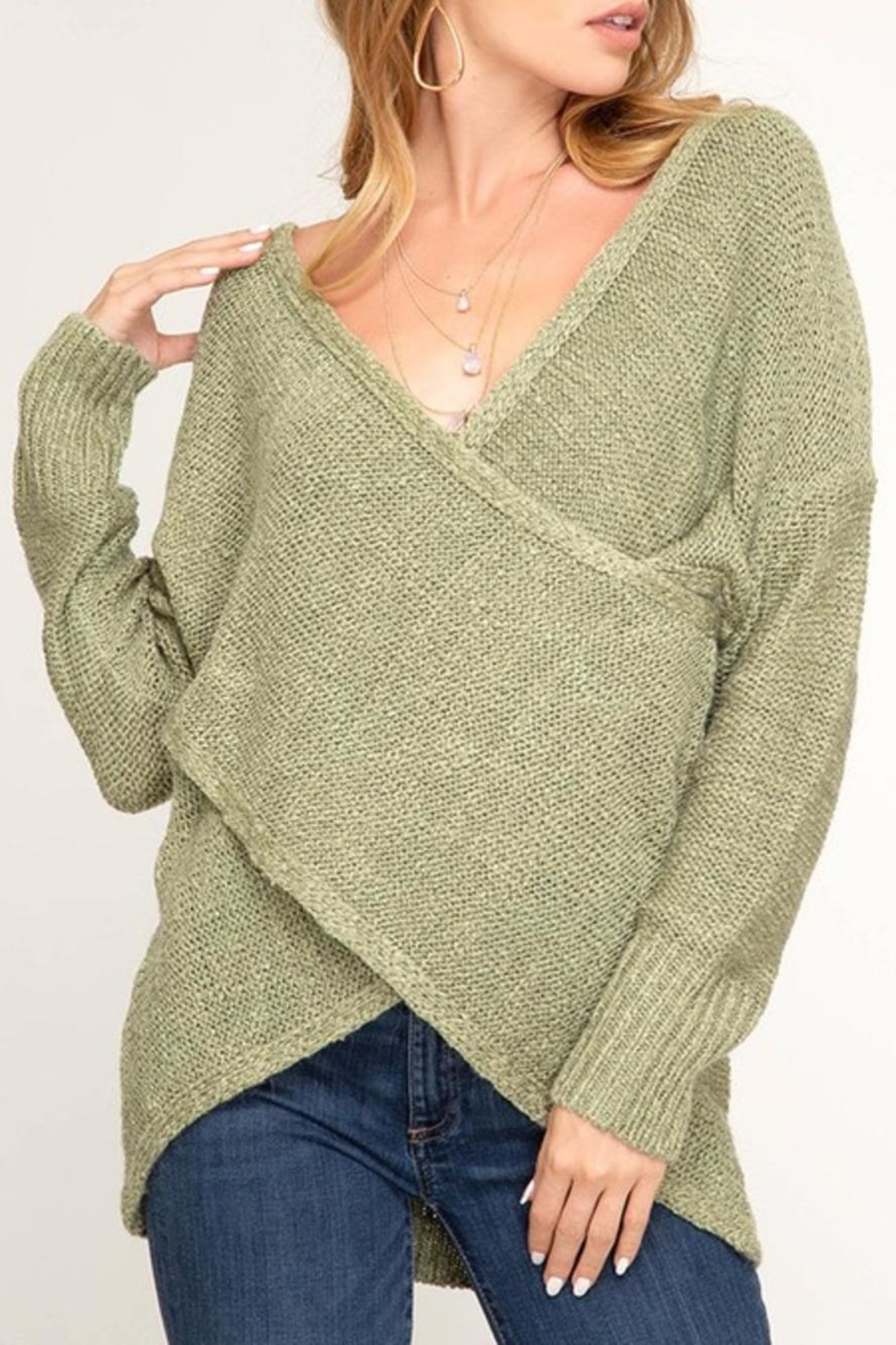 She + Sky Surplice Sweater - Front Cropped Image