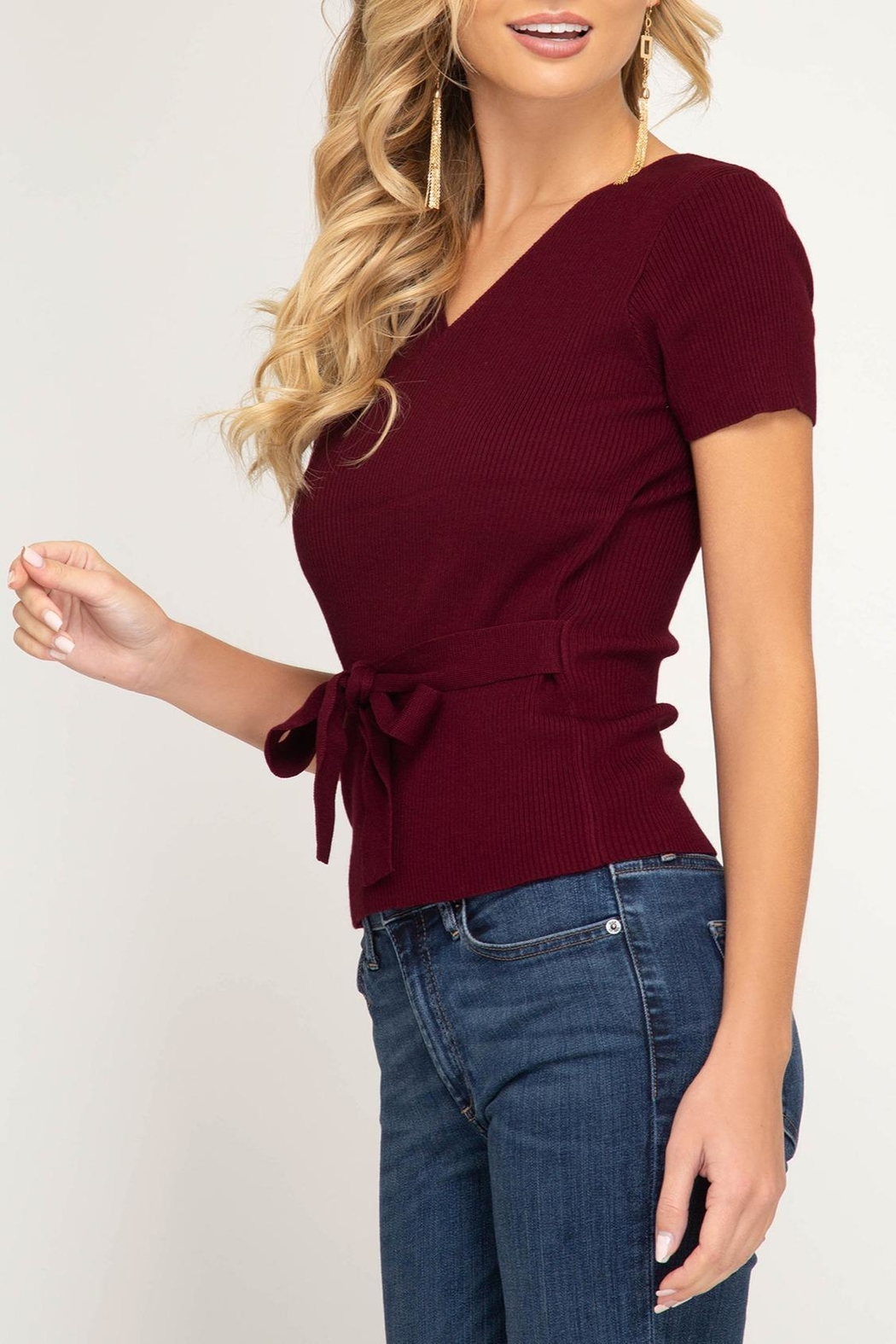 She + Sky Surplice Sweater Top - Side Cropped Image