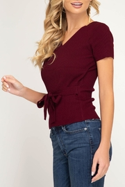 She + Sky Surplice Sweater Top - Side cropped