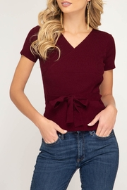 She + Sky Surplice Sweater Top - Front cropped