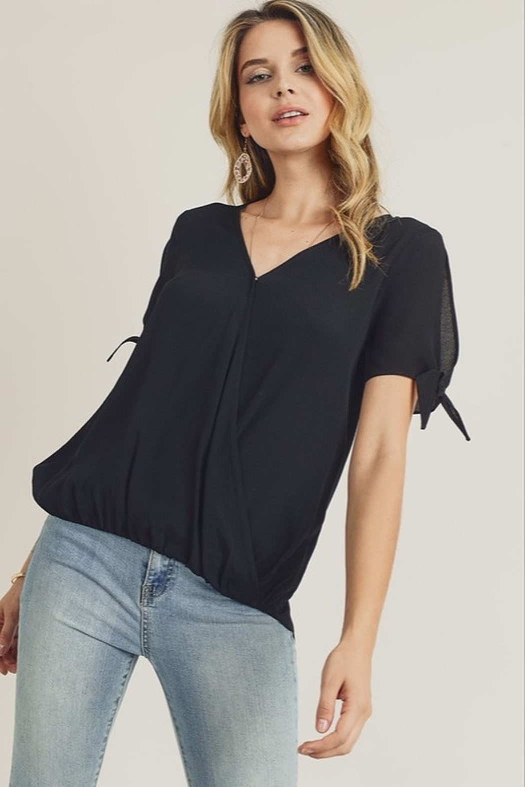 Doe & Rae  Surplice Tie Sleeve Blouse - Front Cropped Image
