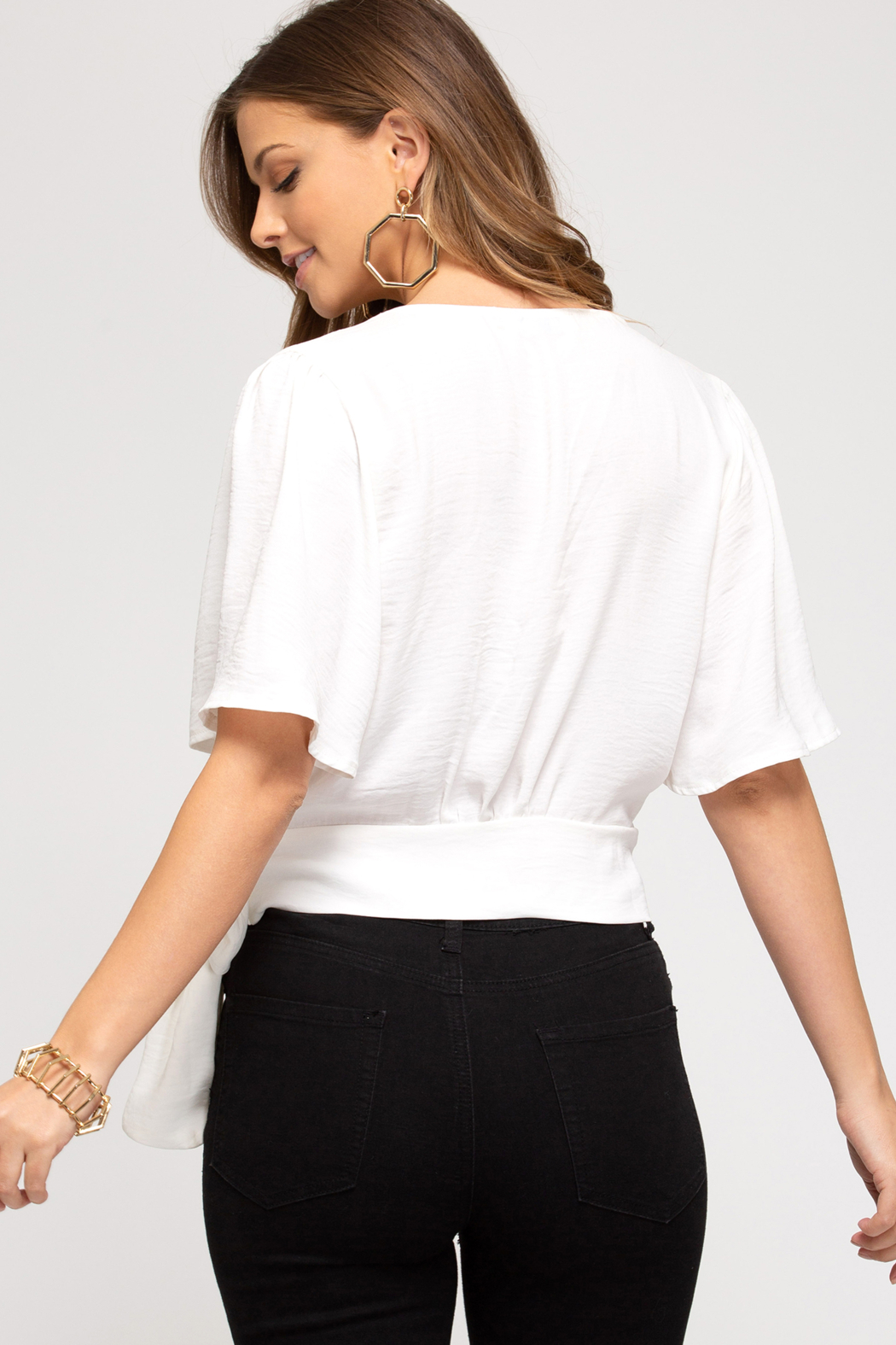She and Sky Surplice Top with Side Tie - Front Full Image