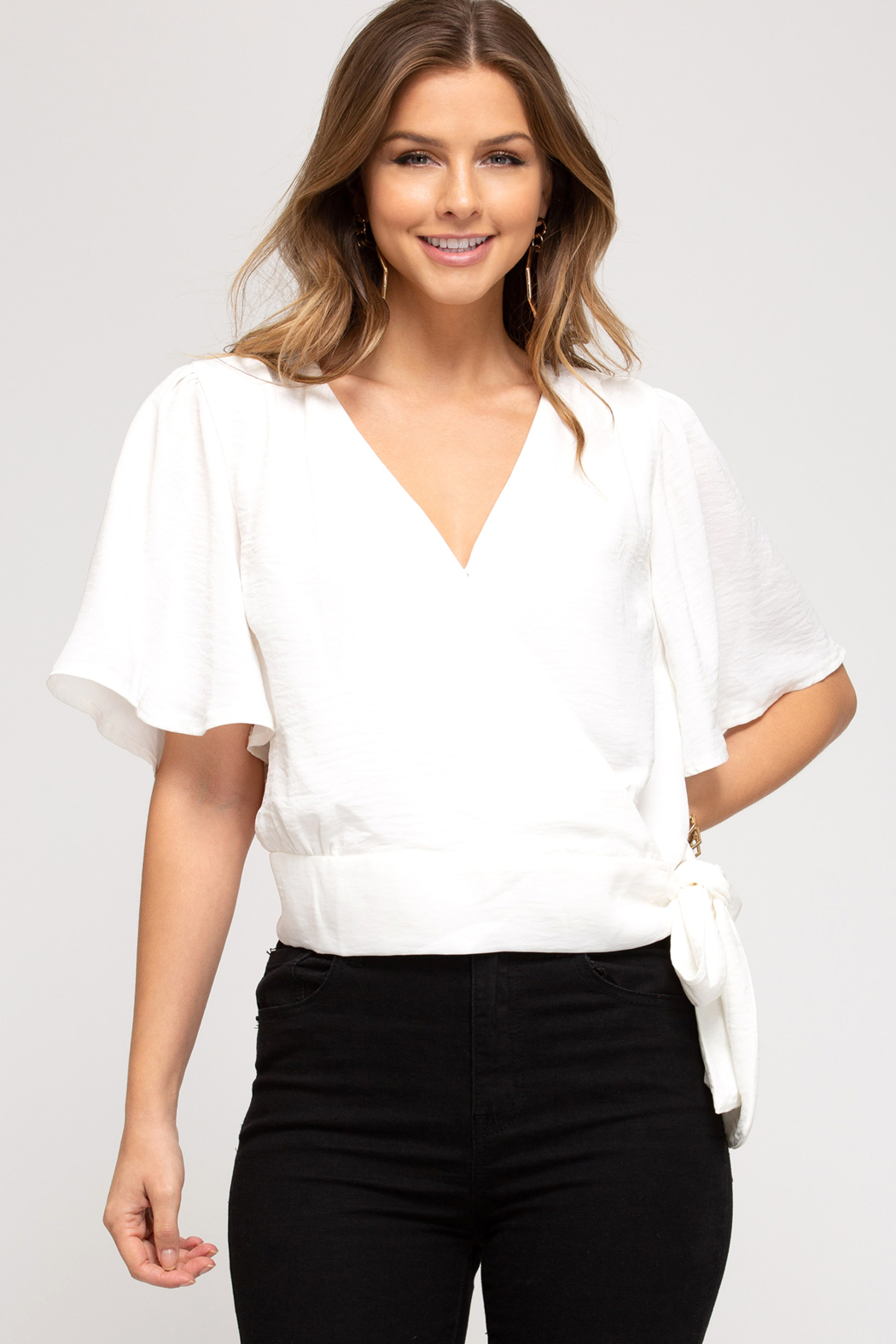 She and Sky Surplice Top with Side Tie - Main Image