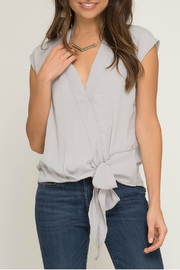 She & Sky  Surplice woven top - Front cropped