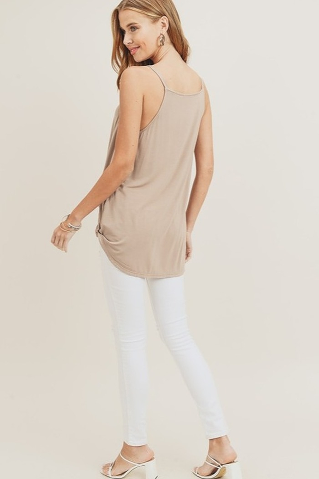 Doe & Rae Surplice Wrap Tank Top - Side Cropped Image