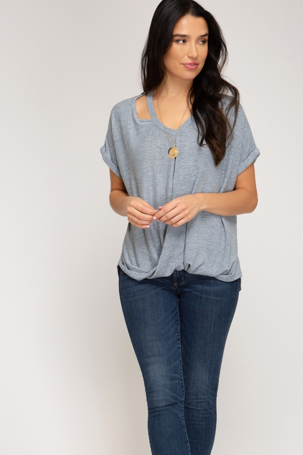 She and Sky Surpliced Top With Neck Cutouts - Back Cropped Image