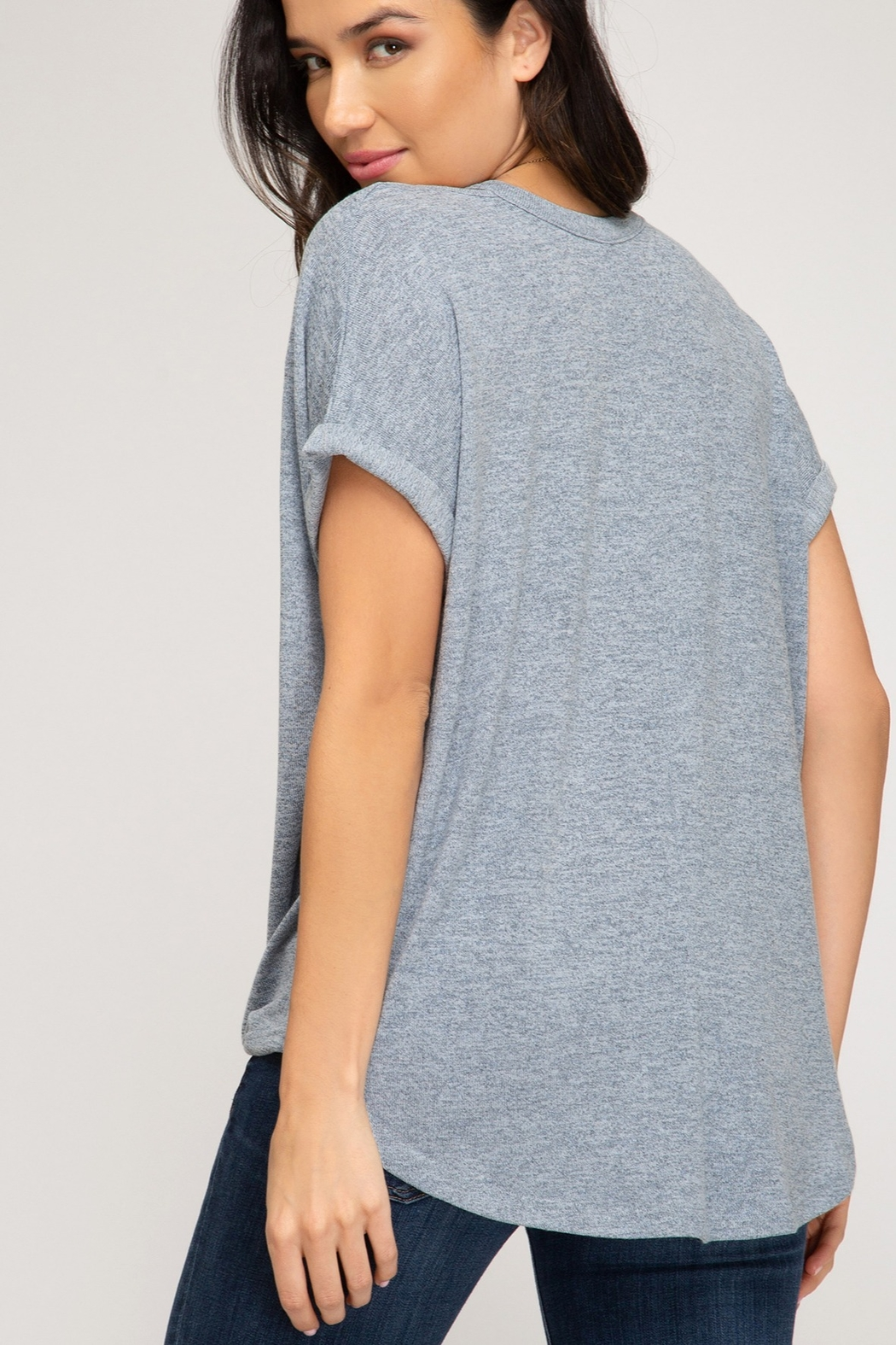 She and Sky Surpliced Top With Neck Cutouts - Front Full Image