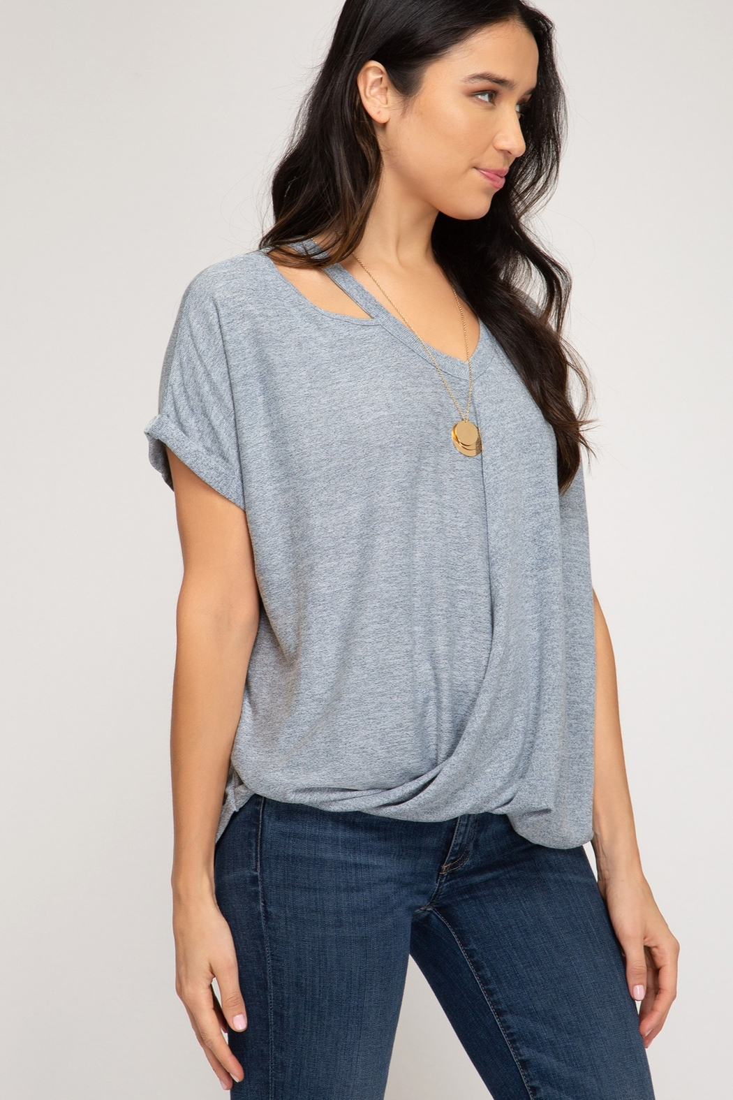 She and Sky Surpliced Top With Neck Cutouts - Side Cropped Image