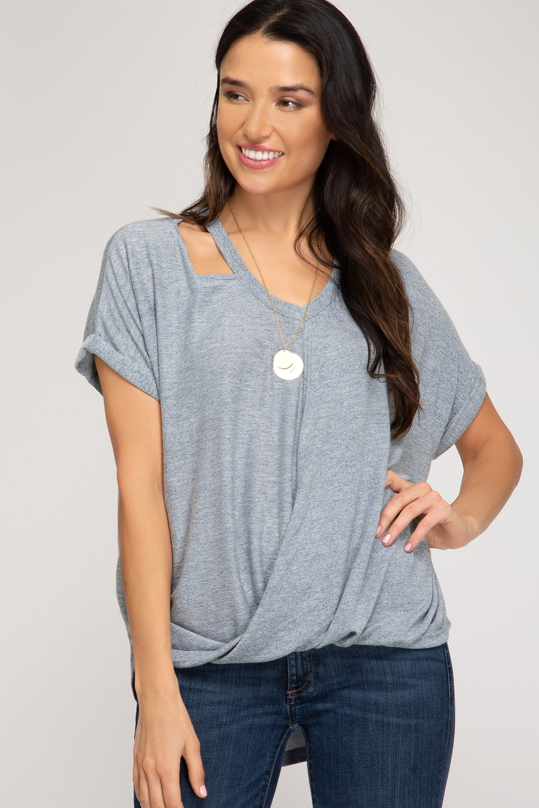 She and Sky Surpliced Top With Neck Cutouts - Main Image