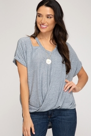 She and Sky Surpliced Top With Neck Cutouts - Product Mini Image