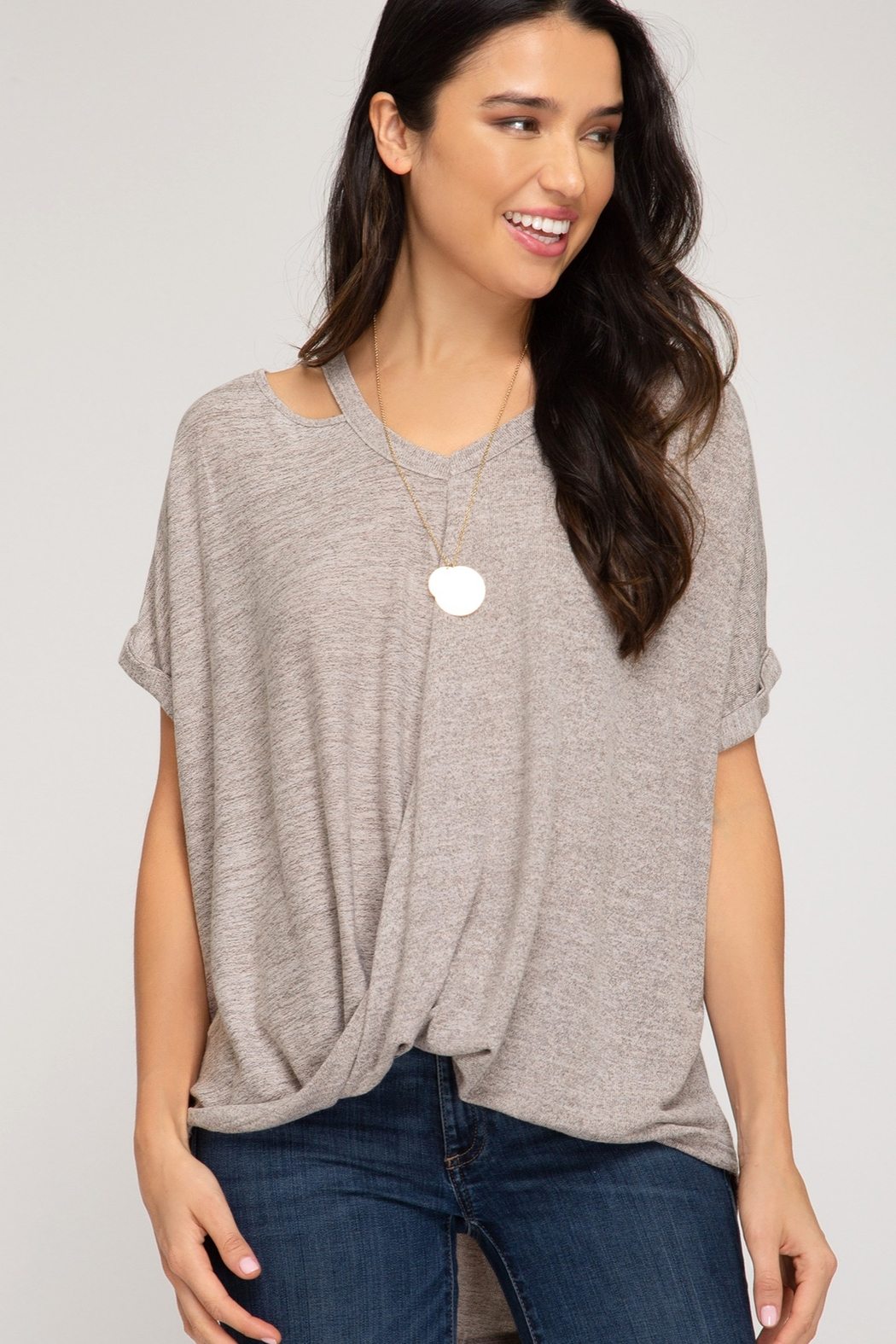 She and Sky Surpliced Top With Neck Cutouts - Front Cropped Image