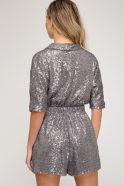 Style U  Surplus Wrap Sequin Romper - Front full body