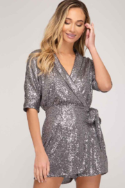 Style U  Surplus Wrap Sequin Romper - Front cropped