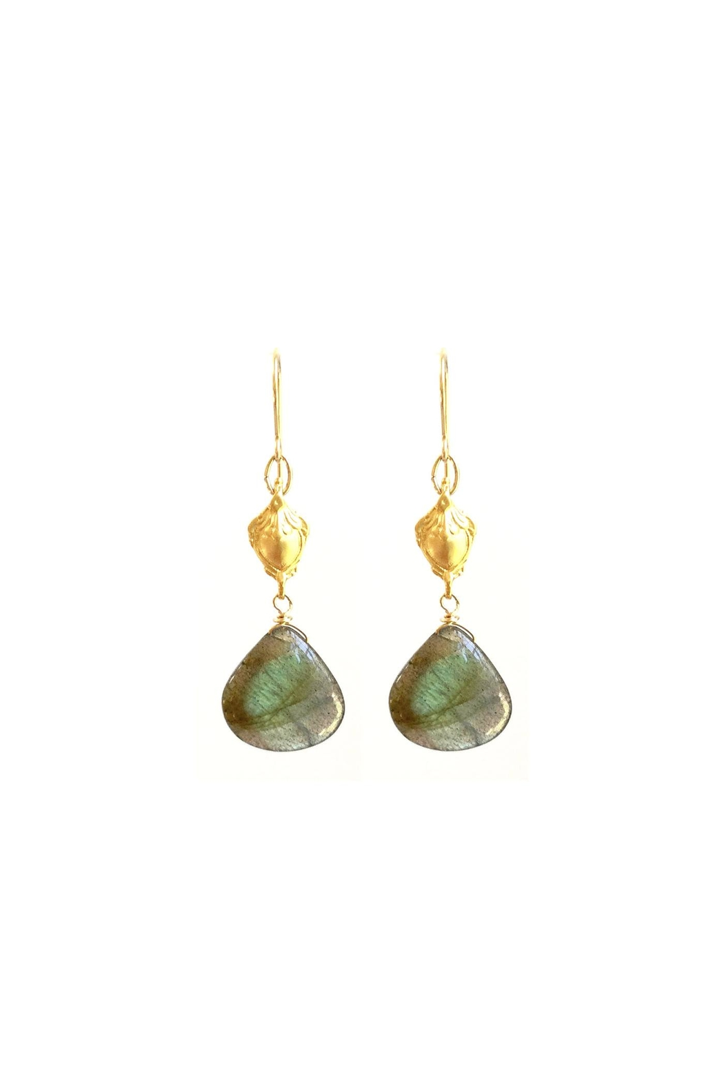 Susan Goodwin Jewelry Labradorite Shield Earrings - Front Cropped Image