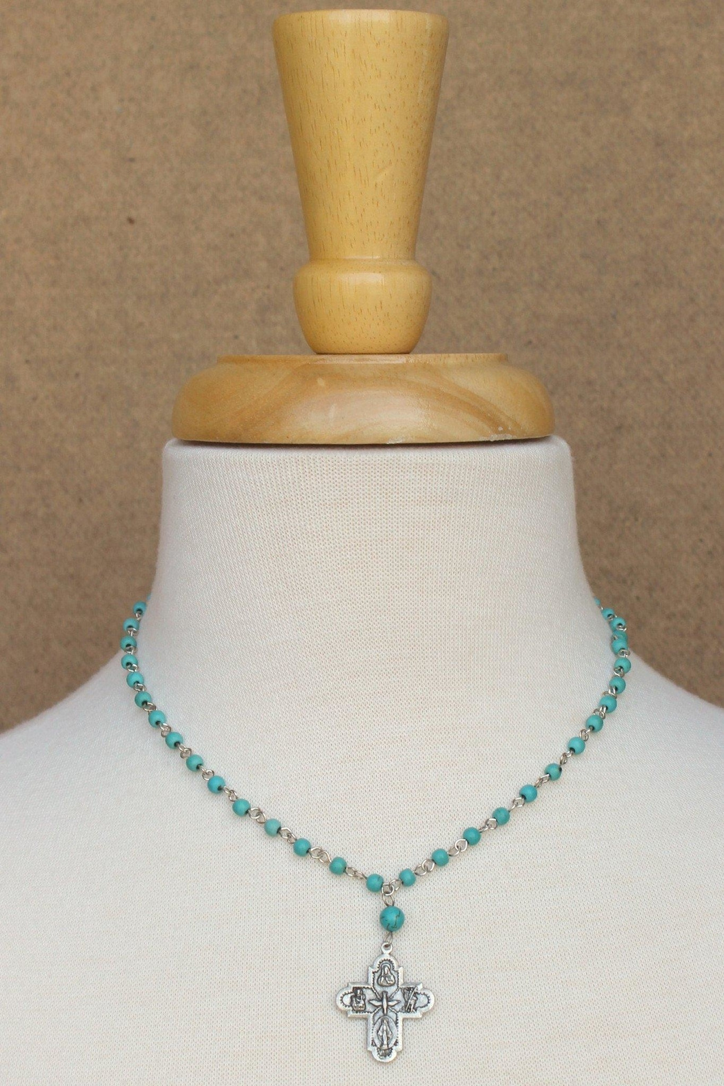 Susan Shaw Turquoise Cross Necklace - Front Full Image