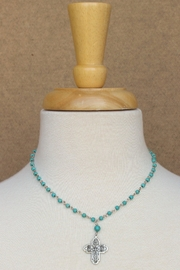Susan Shaw Turquoise Cross Necklace - Front full body
