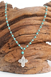 Susan Shaw Turquoise Cross Necklace - Front cropped