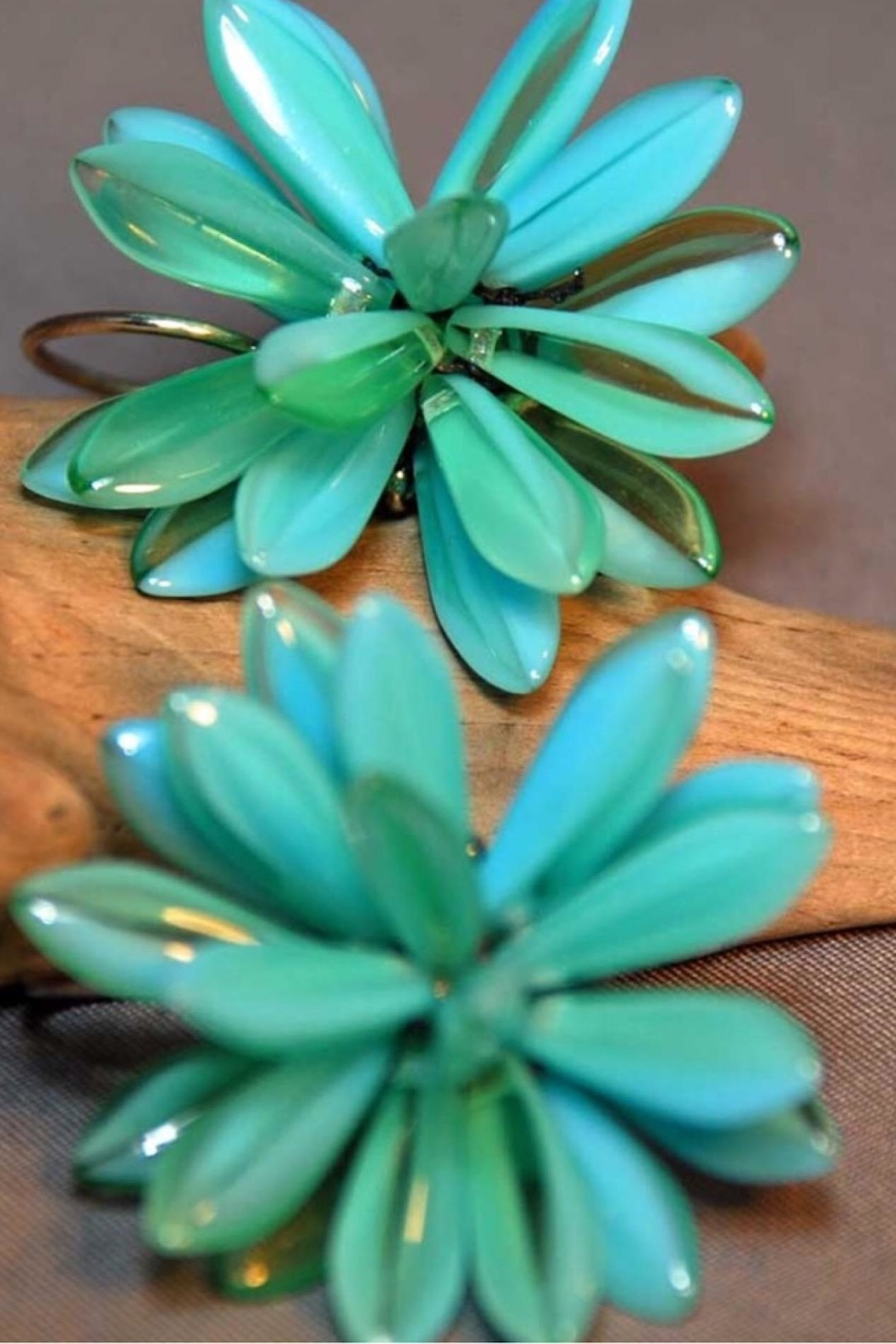 Vachon Designs Blooming Blue Statement Earrings - Front Cropped Image