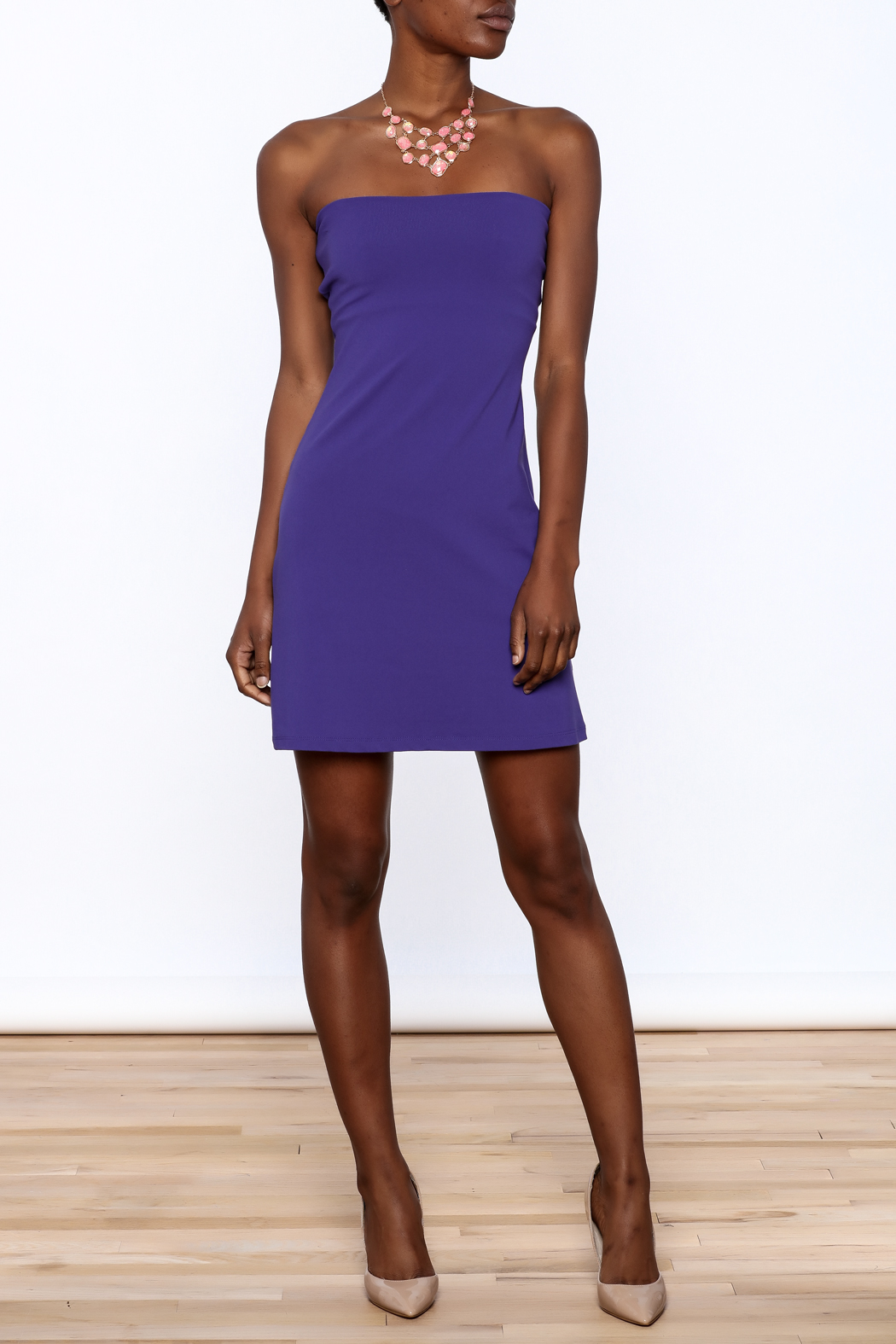 Susana Monaco Purple Strapless Dress - Front Full Image