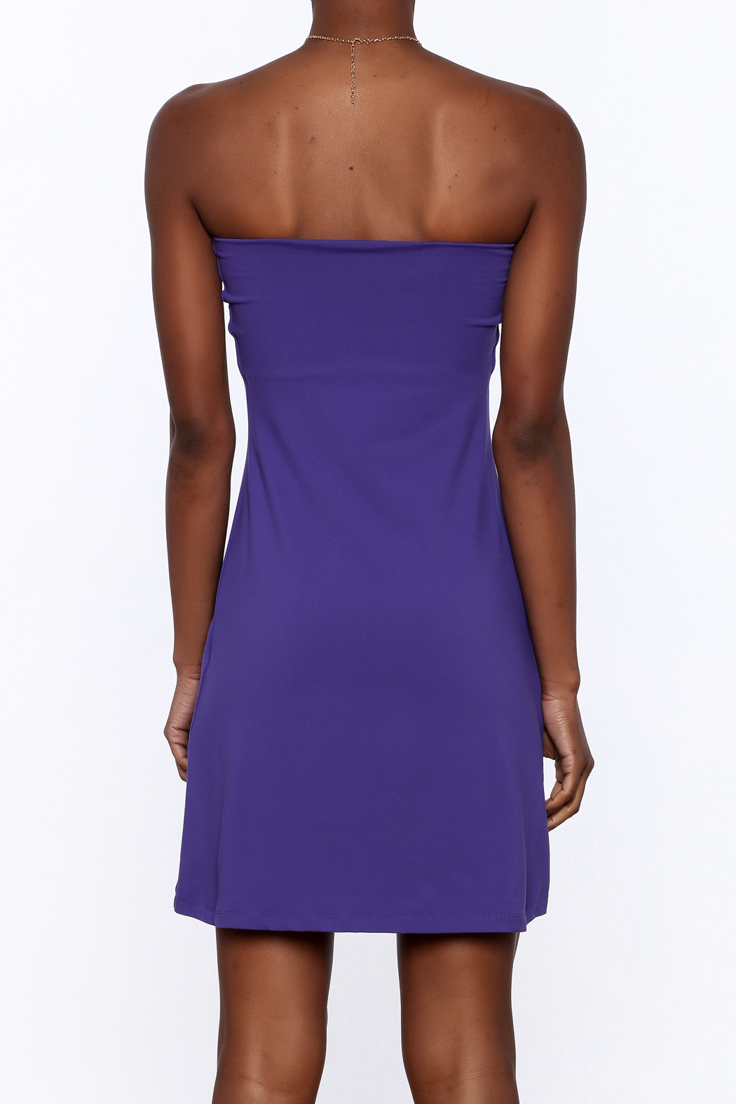Susana Monaco Purple Strapless Dress - Back Cropped Image