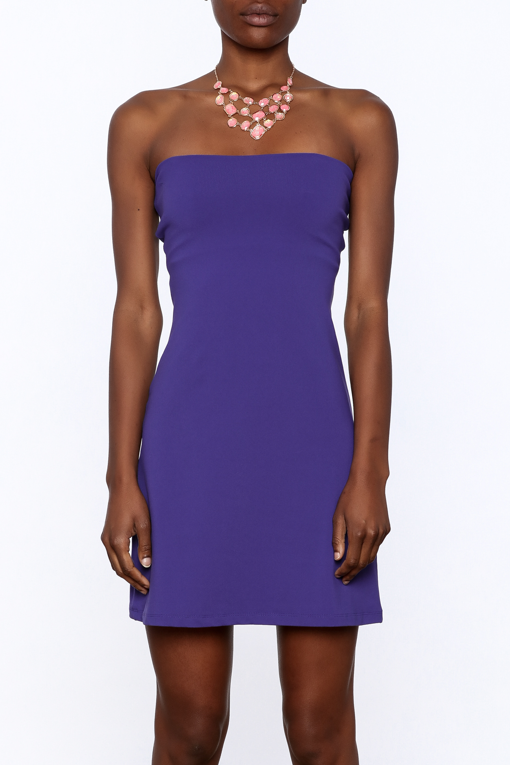 Susana Monaco Purple Strapless Dress - Side Cropped Image