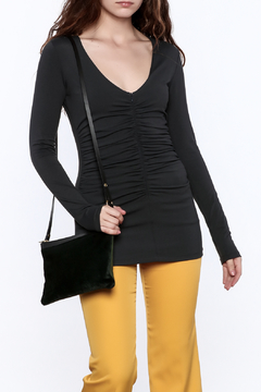 Susana Monaco Zip Gather Long Sleeve Top - Product List Image