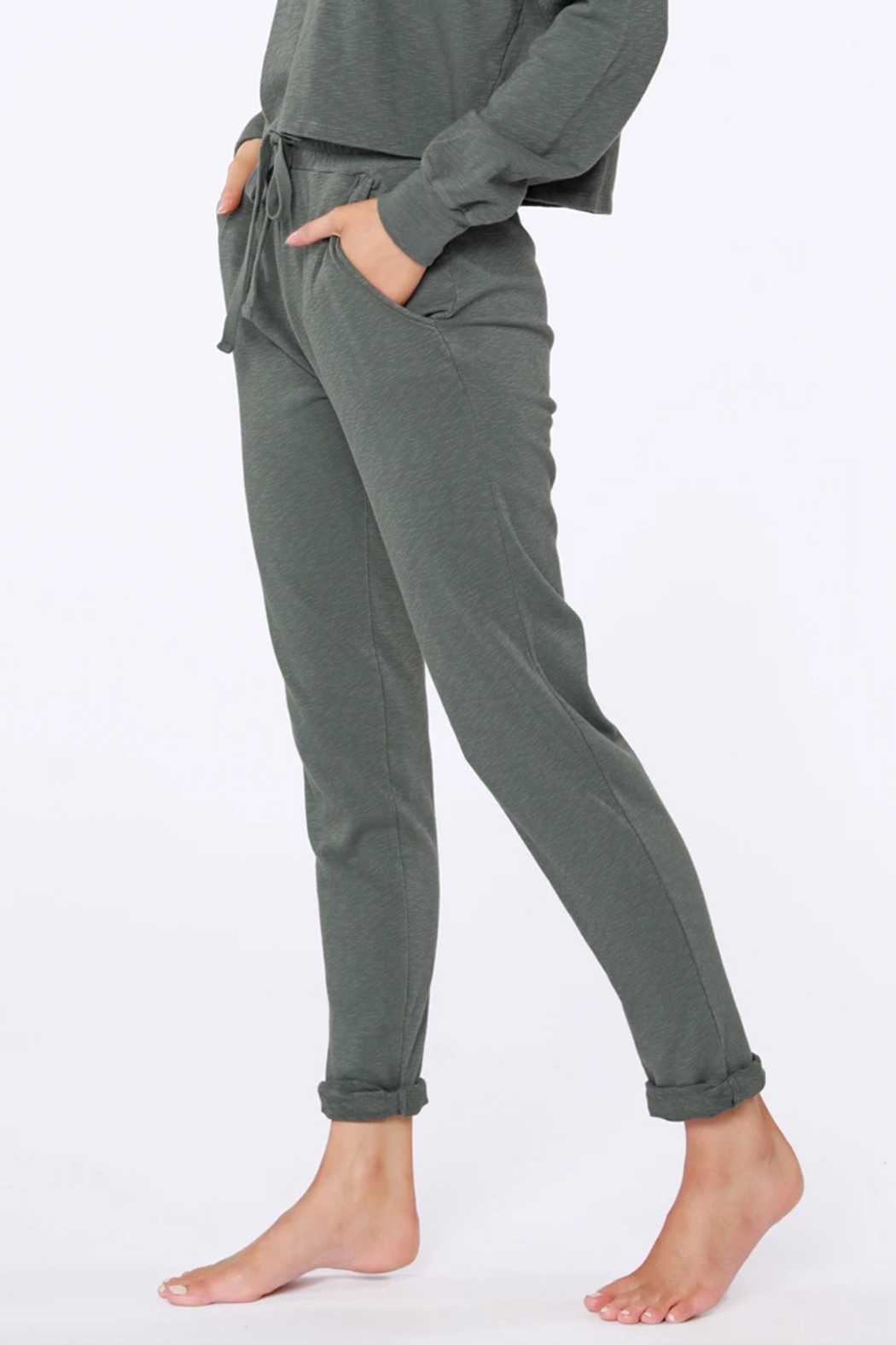 Bobi Sustainable Terry Cuffed Pant - Side Cropped Image