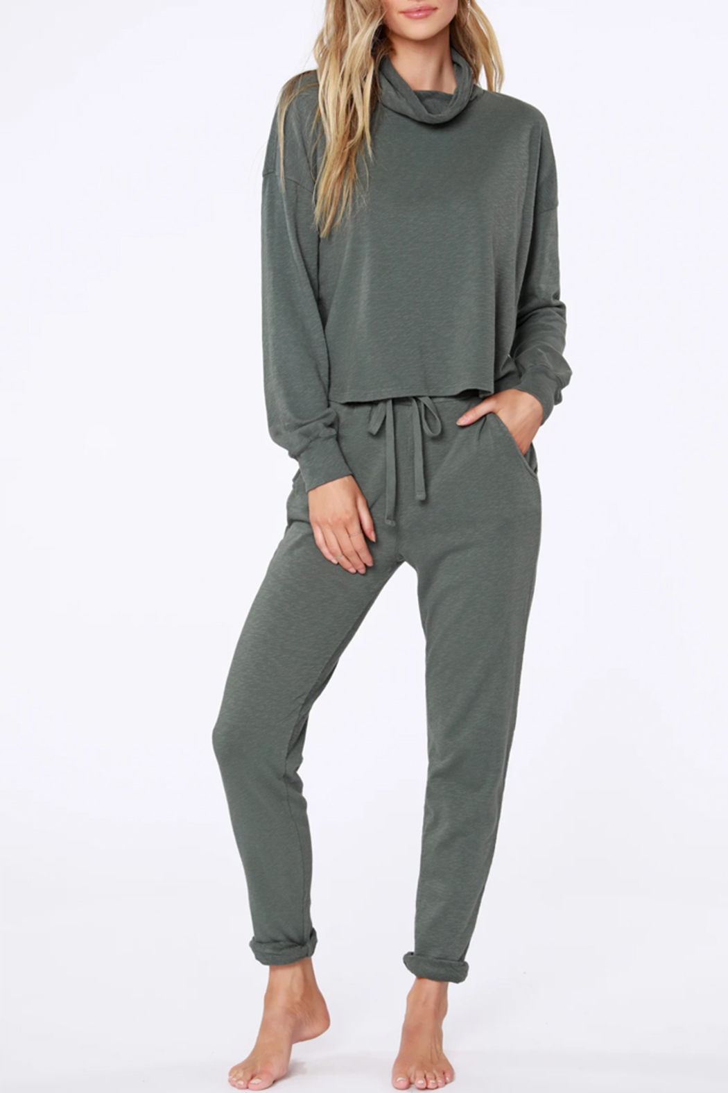 Bobi Sustainable Terry Cuffed Pant - Front Full Image