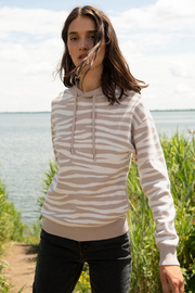 Soia & Kyo Sustainable Zebra Jacquard Knit Hoodie - Back cropped
