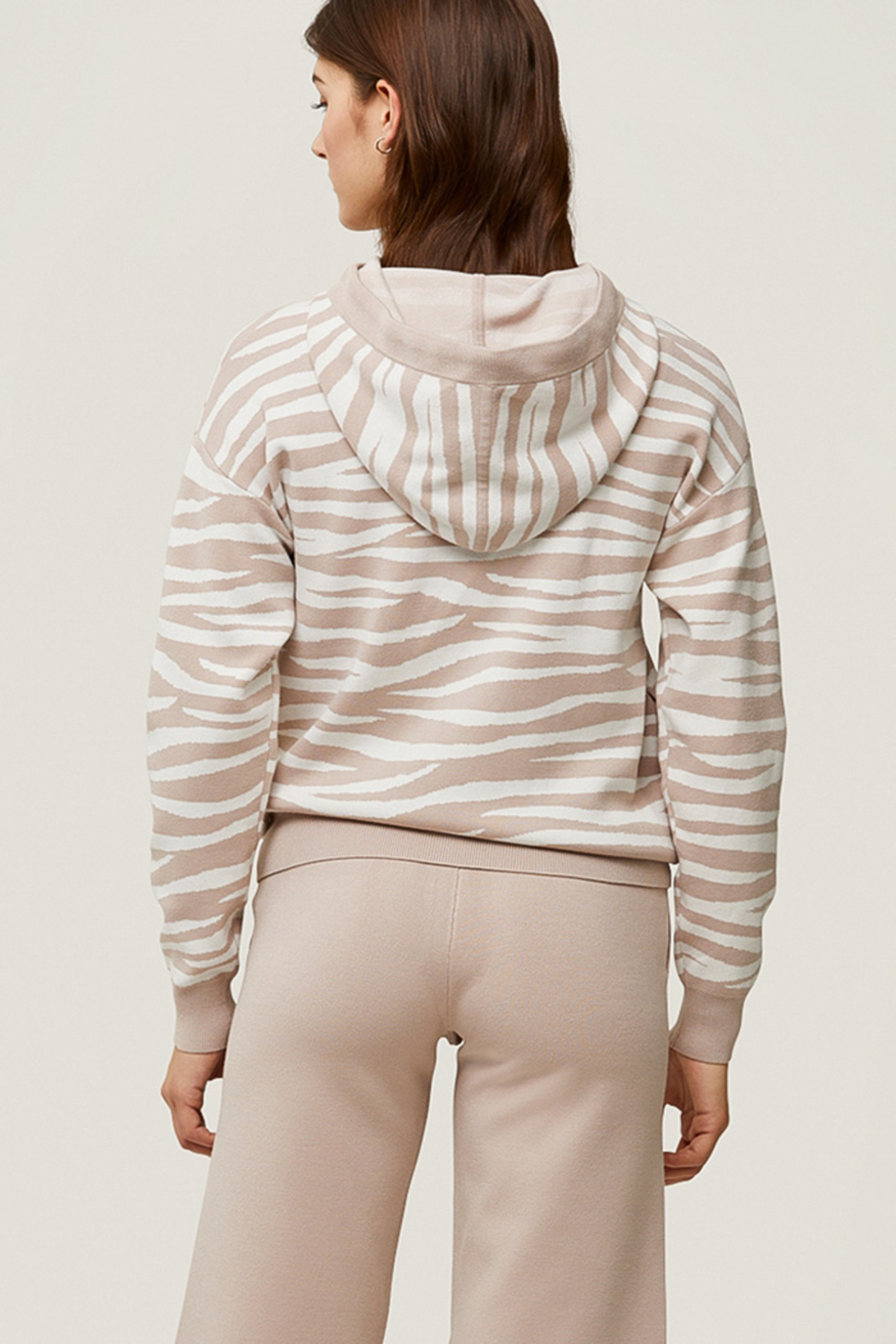Soia & Kyo Sustainable Zebra Jacquard Knit Hoodie - Front Full Image