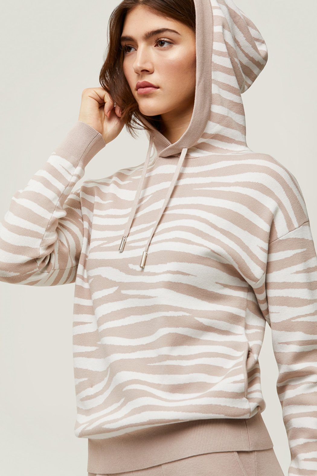 Soia & Kyo Sustainable Zebra Jacquard Knit Hoodie - Front Cropped Image