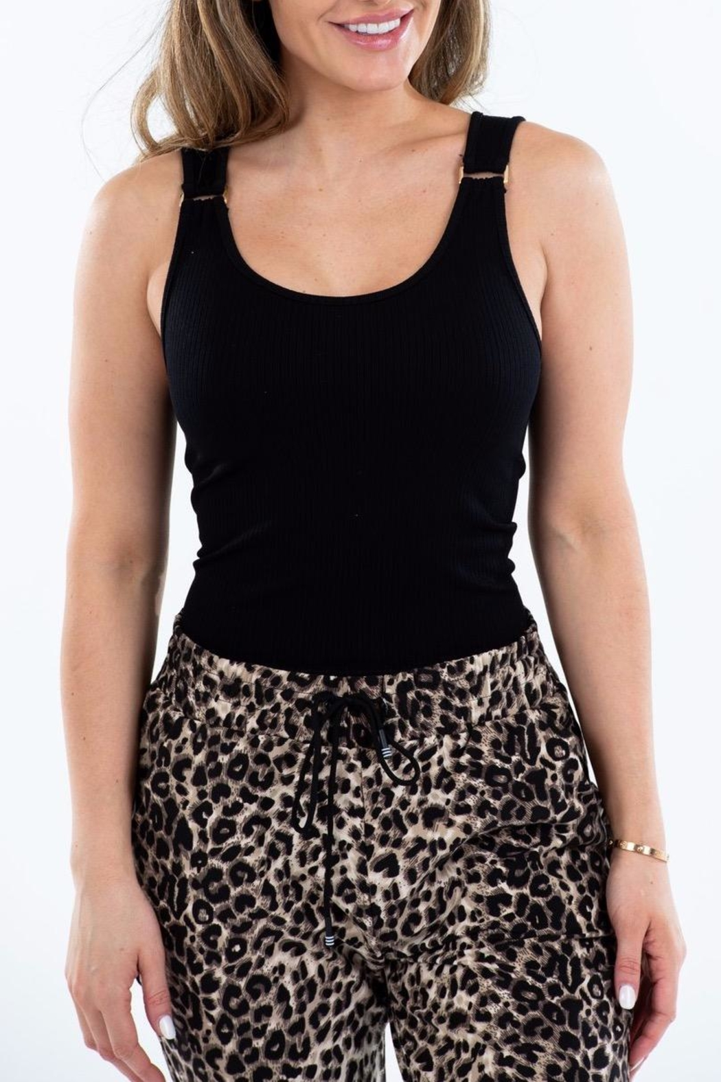 Suzette Collection Gold Buckle Ribbed Tank - Front Cropped Image