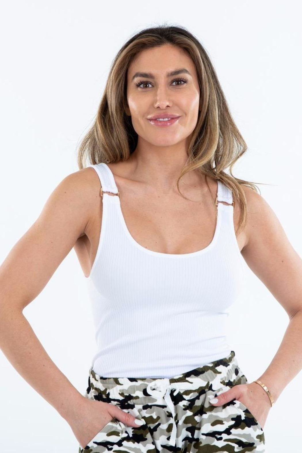 Suzette Collection Gold Buckle Ribbed Tank - Main Image