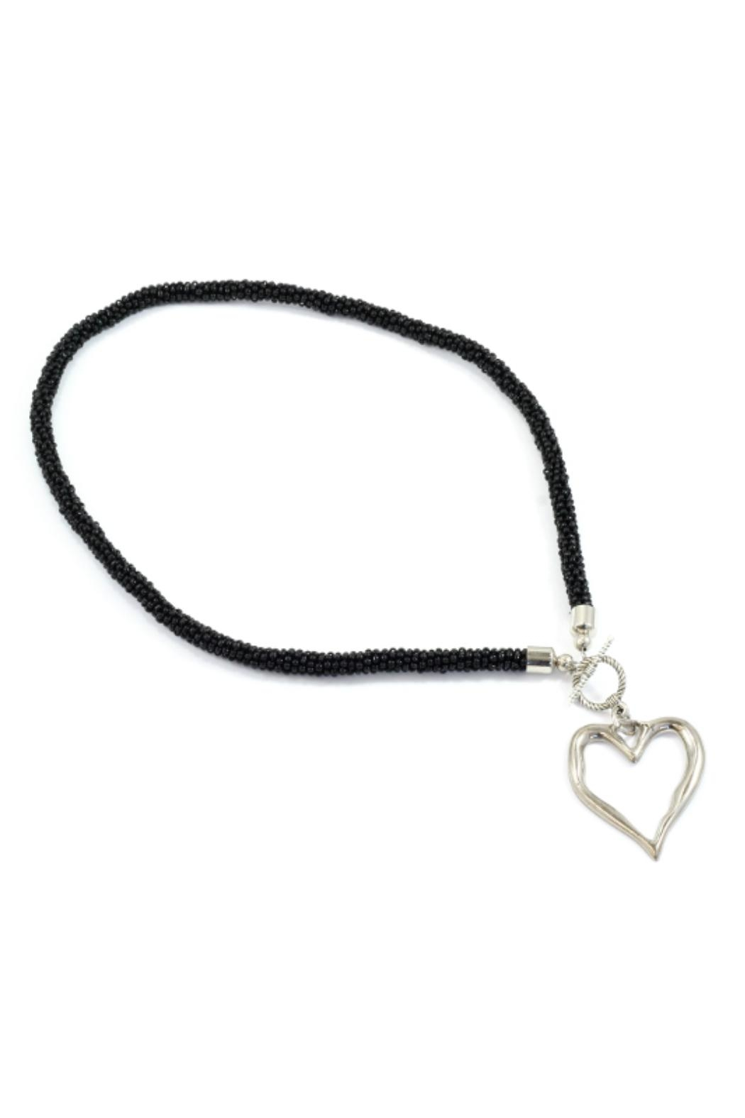 Suzie Blue Black Heart Necklace - Front Cropped Image