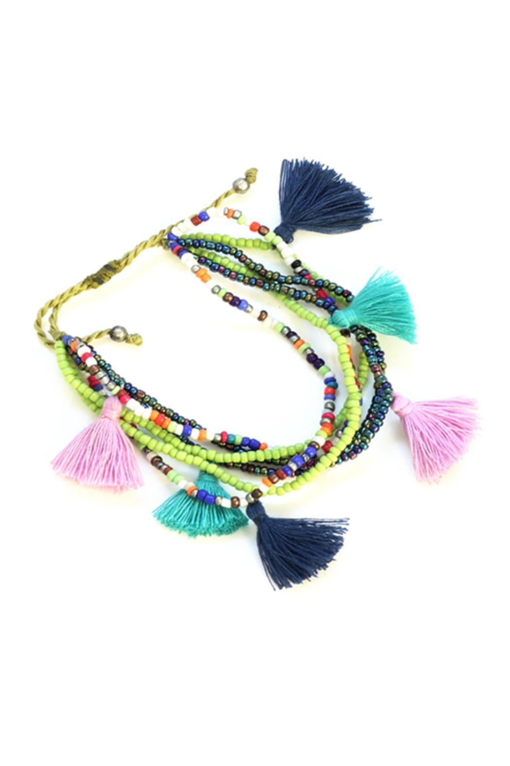 Suzie Blue Colourful Tassel Bracelet - Front Cropped Image