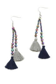 Suzie Blue Navy Tassel Earrings - Product Mini Image
