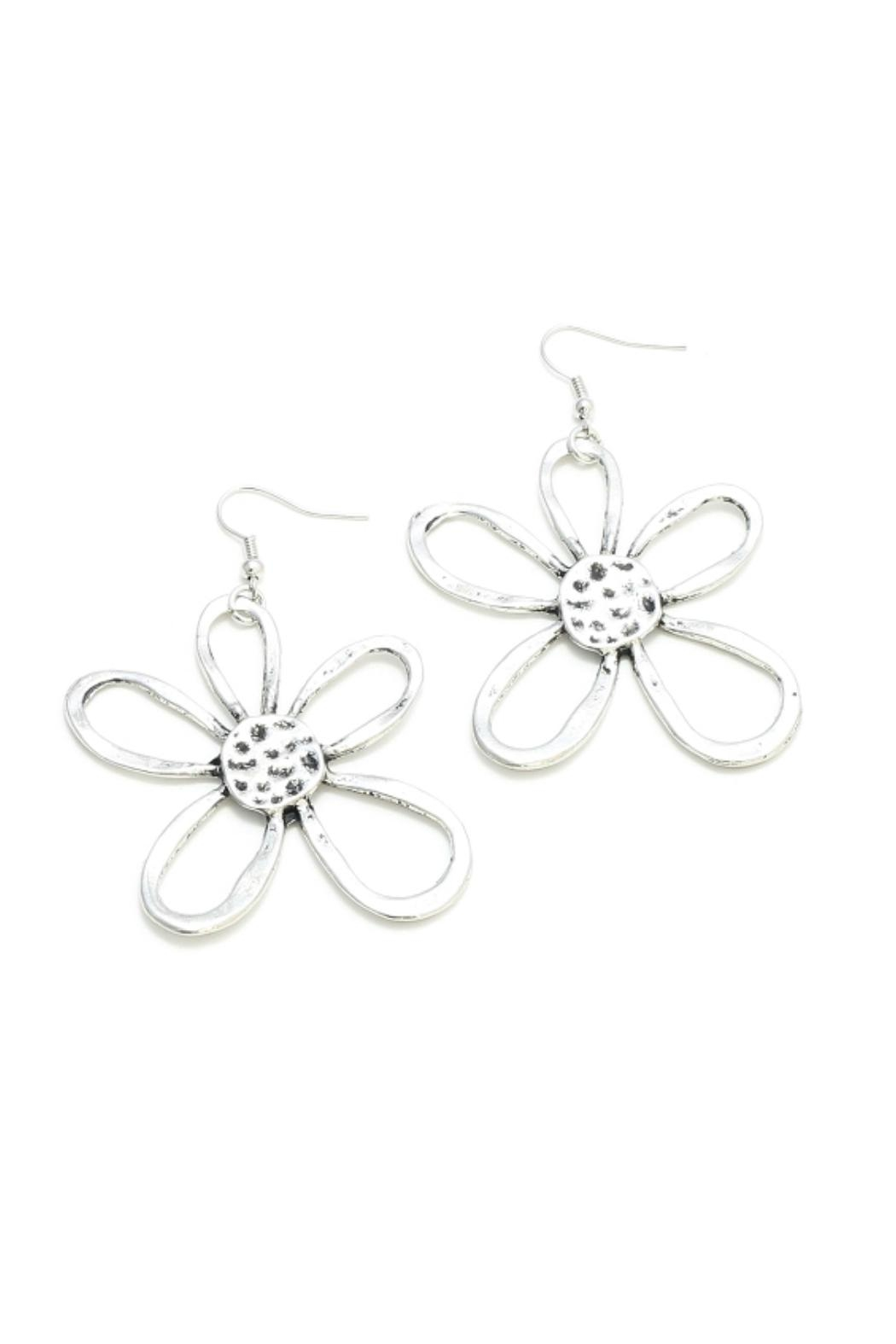 Suzie Blue Silver Flower Earrings - Front Cropped Image
