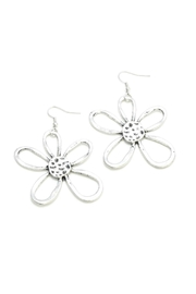 Suzie Blue Silver Flower Earrings - Front cropped