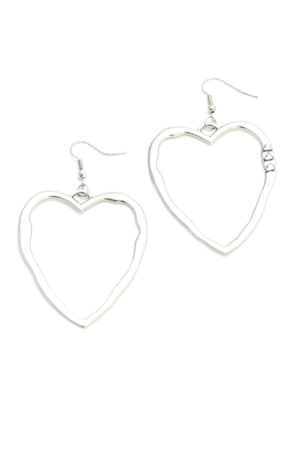 Suzie Blue Silver Heart Earrings - Main Image