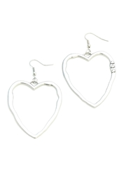 Suzie Blue Silver Heart Earrings - Front cropped