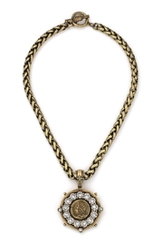 French Kande Swarovski and Brass plated chain necklace - Front cropped