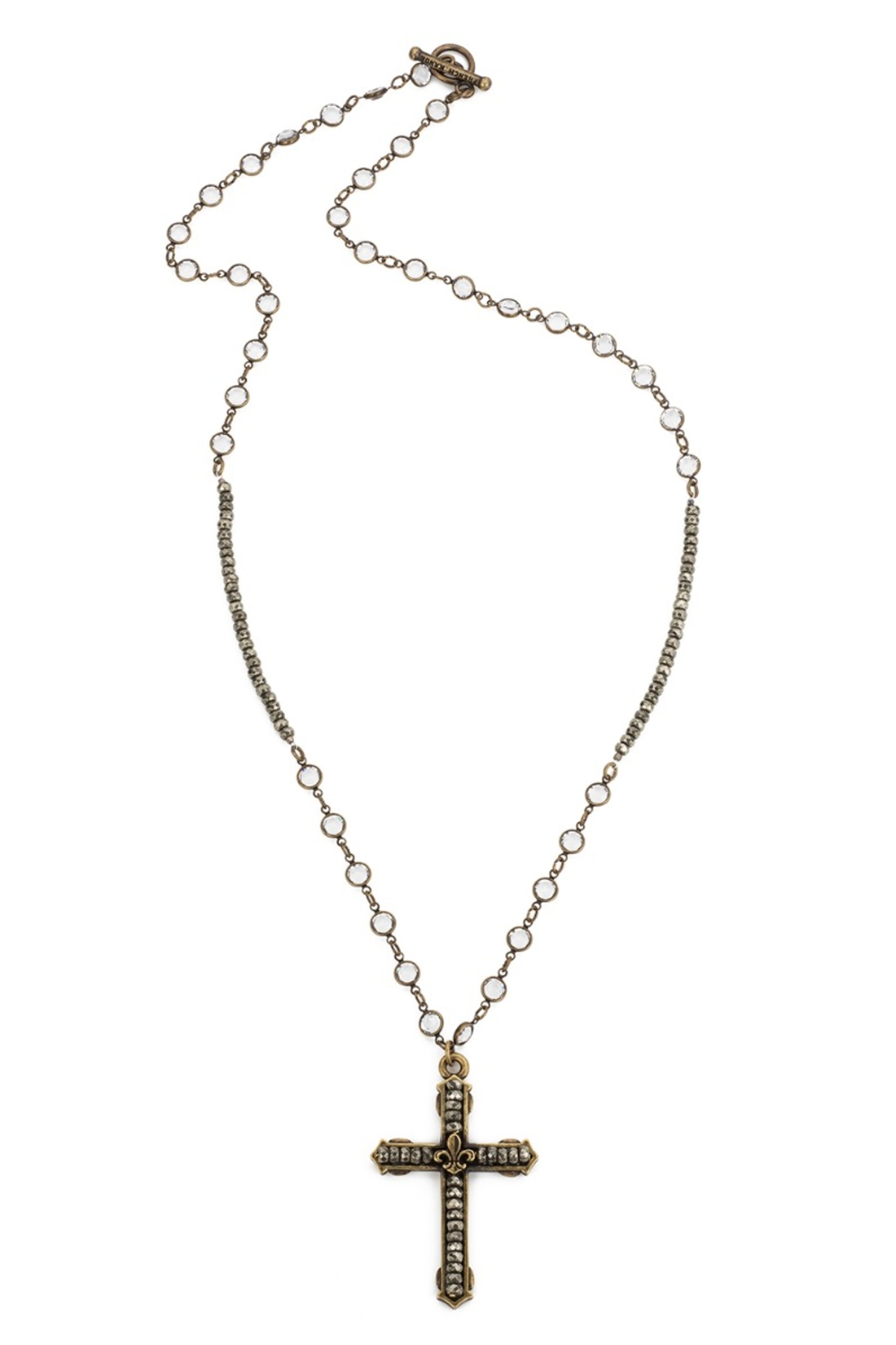 French Kande Swarovski and pyrite long necklace with cross - Main Image