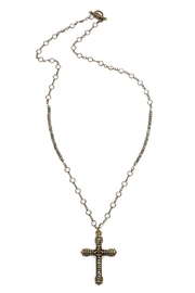 French Kande Swarovski and pyrite long necklace with cross - Front cropped