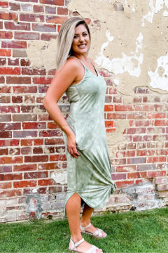 Shoptiques Product: Sway With Me Tie Dye Green Sleeveless Maxi Dress