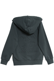Wheat Sweat Cardigan Embossed Snowmobile - Front full body