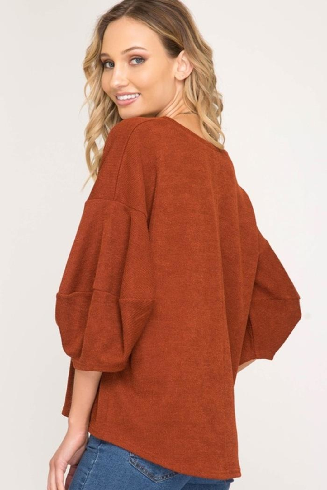 She + Sky Balloon Sleeve Sweater - Side Cropped Image