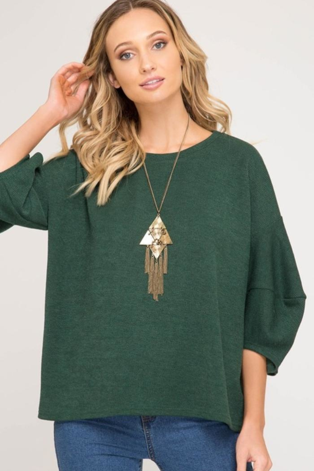 She + Sky Balloon Sleeve Sweater - Front Cropped Image