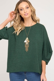 She + Sky Balloon Sleeve Sweater - Front cropped