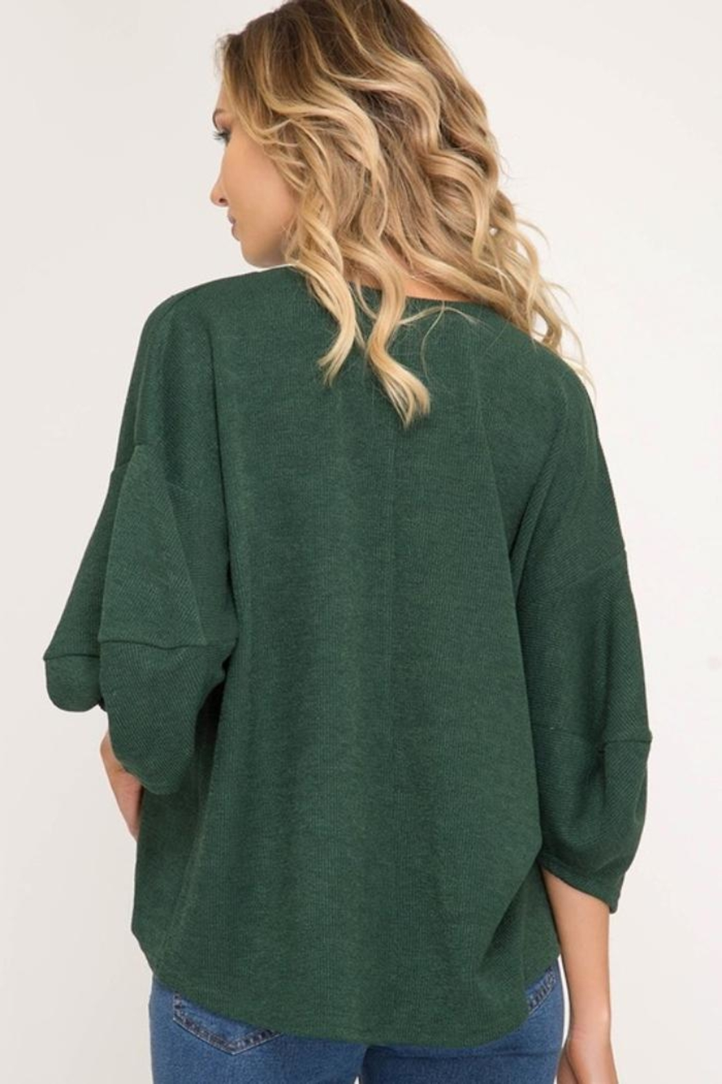 She + Sky Balloon Sleeve Sweater - Front Full Image